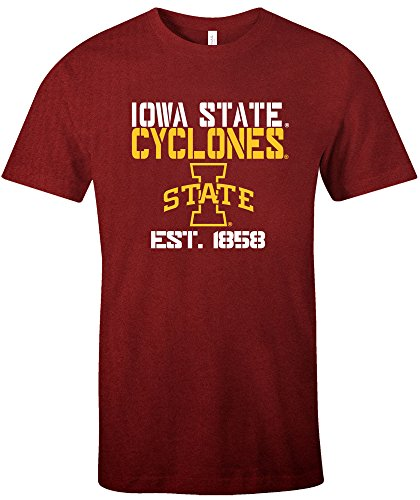 NCAA Iowa State Cyclones Est Stack Jersey Short Sleeve T-Shirt, Cardinal,Small