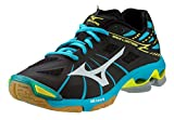 Mizuno Women's Wave Lightning Z WOMS BK-AB Volleyball Shoe, Black/Alaskan Blue, 11 B(M) US