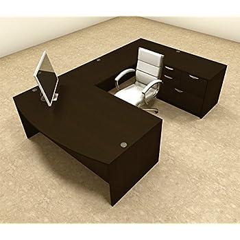 Amazon Com 4pc U Shape Modern Executive Office Desk Ot
