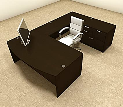 Exceptionnel 4pc U Shape Modern Executive Office Desk, #OT SUL U8