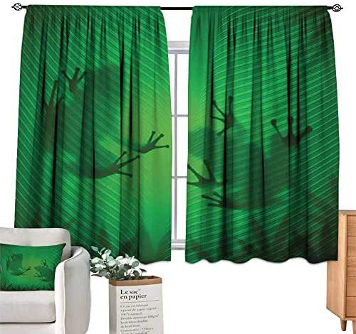 cobeDecor Animal Simple Curtain Frog Shadow Silhouette on The Banana Tree Leaf in Tropical Lands Jungle Games Graphic Privacy Protection 63