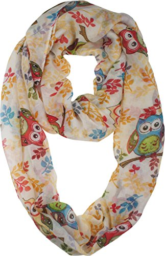 Vivian & Vincent Soft Light Elegant Cartoon Owl Sheer Infinity Scarf White