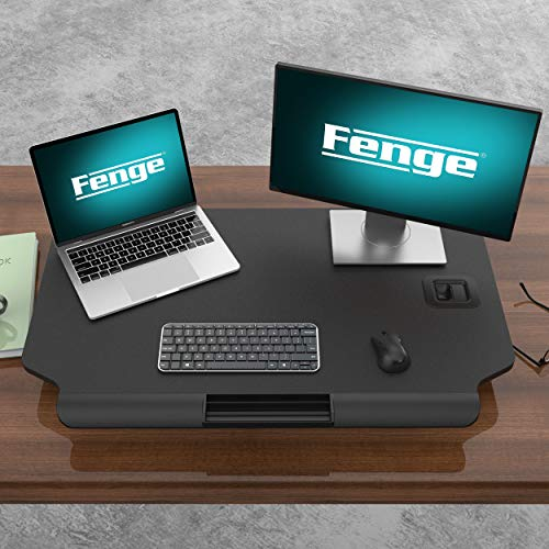 FENGE Standing Desk Conventer with Storage Area Height Adjustable Stand Up Desk for Dual Monitors SD208003MB