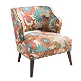 Mid-century Modern Blue and Orange Floral Print Upholstered Accent Armchair with Brown Wood Legs - Includes ModHaus Living Pen