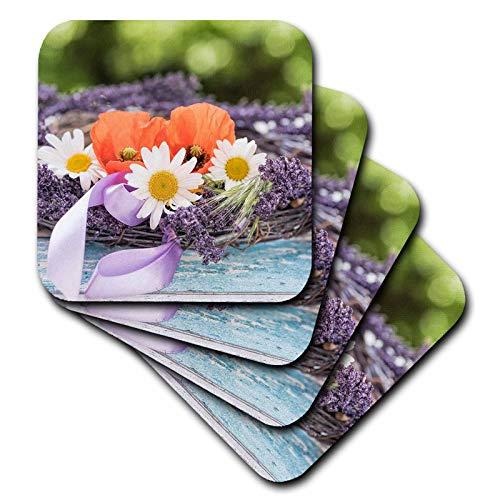 (3dRose Uta Naumann Photography Flowers - Summer Flower Poppy Daisy Lavender Vintage Still Life Photography - set of 8 Ceramic Tile Coasters (cst_293248_4))