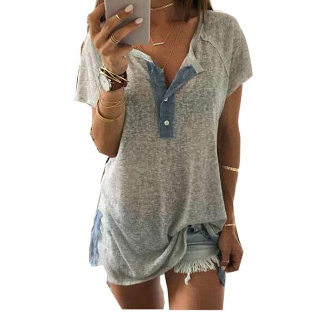 Libermall Women's Casual Summer Short Sleeve T-Shirts Button Down Round Neck Loose Tunic Shirt Blouse Tops Gray