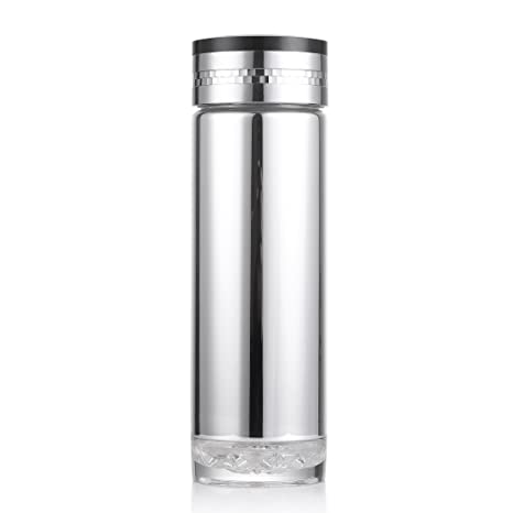oneisall leak proof glass lined thermos silver plating double wall glass travel thermos mug - Glass Thermos
