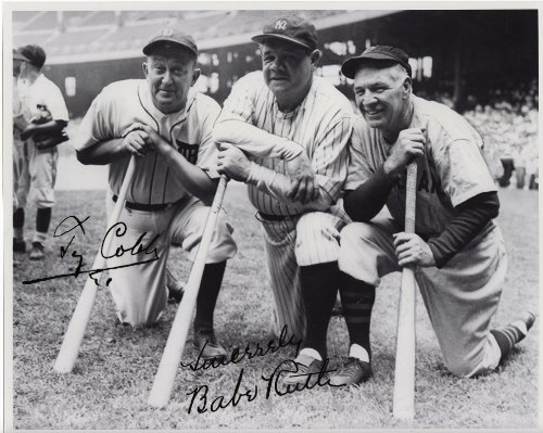 Ty Cobb & Babe Ruth Yankees & Tigers 8 X 10 Reprint Photo - Beautiful ! - Ty Cobb Autograph