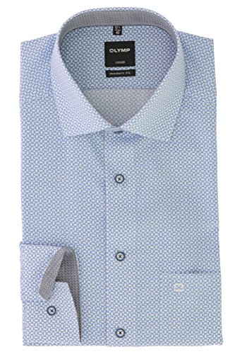 OLYMP Business & Freizeit Hemd aus der Serie Luxor Langarmhemd mit Global Kent Kragen Modern Fit Schnitt Gr.39 Bleu