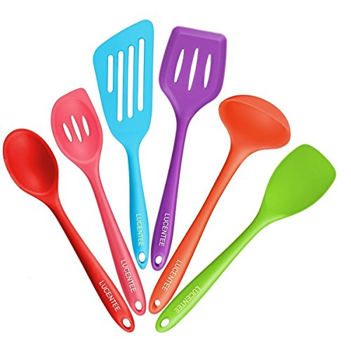 Silicone Spatulas & Kitchen Utensils Sets: 6 Piece Rubber Cookware Set with Heat Resistant & Non Stick Slotted Spatula, Ladle, Small Spoonula, Spoon & Turner - Plastic Nonstick Cooking Accessories