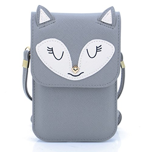 U-TIMES Universal Multipurpose Small Cute Cartoon Fox Pattern Synthetic Leather Crossbody Shoulder Purse 6 inch Cell Phone Wallet - Free Sunglasses Shipping Use