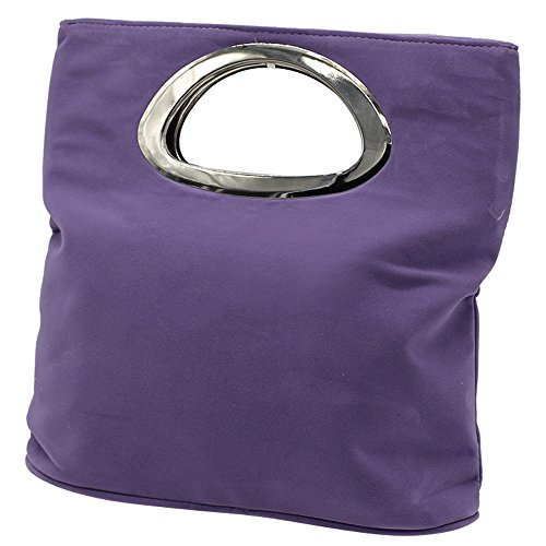 Purple Womens Ladies Light Tote Evening Bag Handbag Suede Wocharm Clutch Foldable Plain Leather Bag qOdwR6dEnx