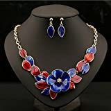 style8 blue - Women Fashion Pendant Crystal Flower Choker Chunky Statement Chain Bib Necklace