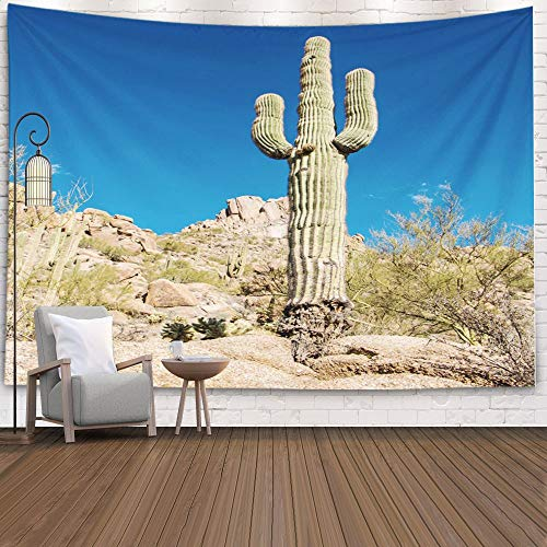 Gesmatic Decorative Wall Hanging Tapestry, 80X60 Inches Big Size Vertical Image Classic Saguaro Cactus Peak Trail Scottsdale Az Accessory for Living Room Bedroom Popular Tapestry,Black Green