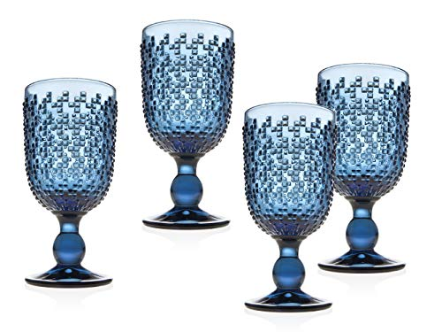 (Wine Goblet Beverage Glass Cup Alba by Godinger - Blue - Set of 4 )
