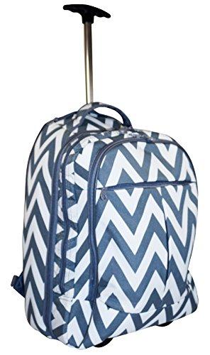 Ever Moda Grey Chevron Wheeled Laptop Backpack