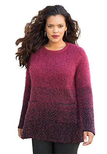 Womens-Plus-Size-Ombre-Dot-Sweater