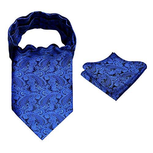 (Alizeal Men's Paisley Ascot Tie Cravat Satin Self Tie and Handkerchief Set(Royal Blue))