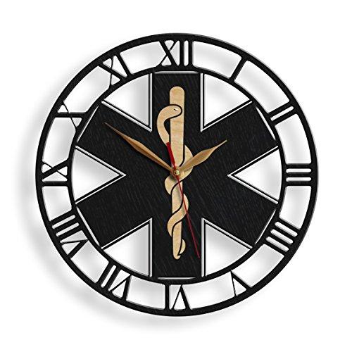- monastar Star of Life Wood Wall Clock -Select Size- Ambulances Paramedics Symbol Logo Emergency Medical Service Snake Emblem Wall Art Décor