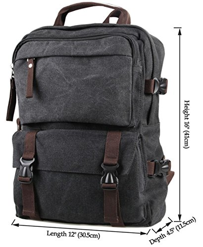 Coolcy Vintage Casual Style Women Men Canvas Backpack New Fashion Camping Bag Laptop Bag Travel Schoolbag (Black)