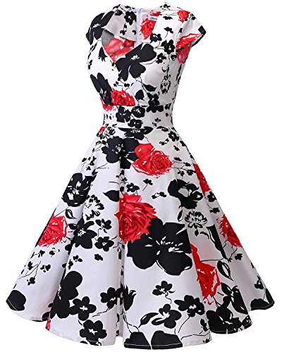 Cocktail Femme sans Rtro Genou au carr de Robe Vintage Robe Flower col Bbonlinedress Red plisse Manches Rockabilly v516t5F
