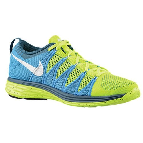 Nike Men's Flyknit Lunar2, VOLT/WHITE-BLUE GLOW-NIGHT FCTR, 12.5 M US
