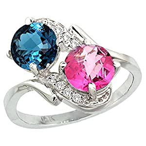 14k White Gold Diamond Natural London Blue & Pink Topaz Mother's Ring Round 7mm, size 5