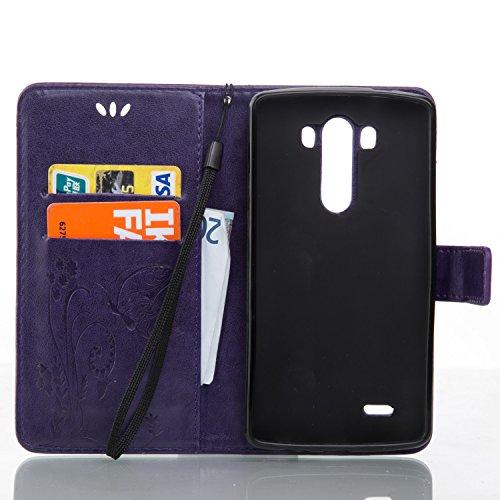 Funda LG G3 S/LG G3 mini OuDu Carcasa de Billetera Funda PU Cuero Carcasa Suave Protectora con Correas de Teléfono Funda Arbol Flip Wallet Case Cover Bumper Carcasa Flexible Ligero Ultra Delgado Caja  Púrpura