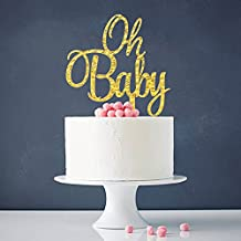 Gold Oh Baby Cake Topper Boy and Girl Baby Shower Party Supplies Decor