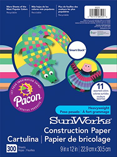 SunWorks Smart-Stack Construction Paper, 11 Assorted Colors, 9