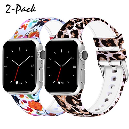 WISHTA Compatible with Apple Watch Band 38mm 42mm 40mm 44mm, Women Men Pattern Printed Rubber Straps Replacement Sports Fan Wristbands for iWatch Series 4/3/2/1 (Flower-02, 42mm/44mm)