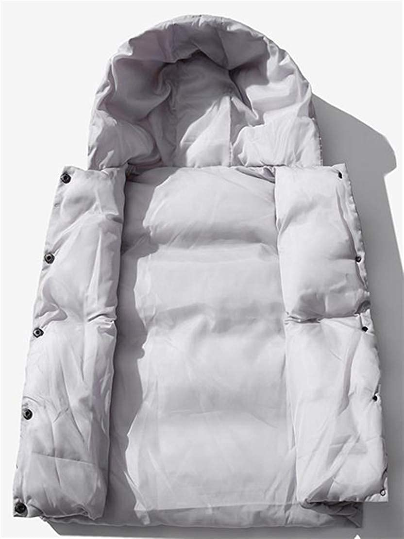 Pivaconis Mens Winter Sleeveless Pocket Hoody Quilted Button Jacket Down Vest