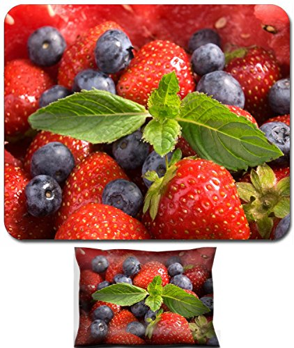 Luxlady Mouse Wrist Rest and Small Mousepad Set, 2pc Wrist Support design IMAGE: 38062455 Berry Salad strawberries raspberries and blueberries