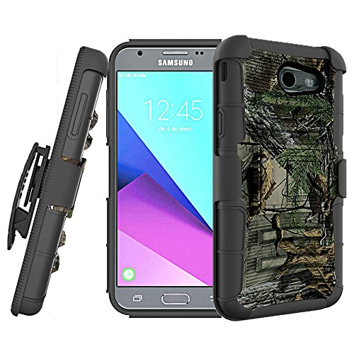 For Samsung Galaxy J3 Emerge Case, J3 Prime / J3 Eclipse / J3 2017 / J3 Luna Pro / Sol 2 / Amp Prime 2 / Express Prime 2 Case, KMISS Heavy Duty Dual Layer [Belt Clip] Holster Kickstand Case (Camo)