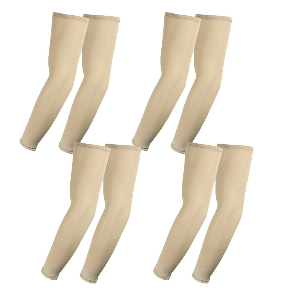 The Elixir Compression Athletic Arm Sleeves, UV Protective Perfect for Basketball, Baseball, Running (Pack of 4 Pairs, Beige)