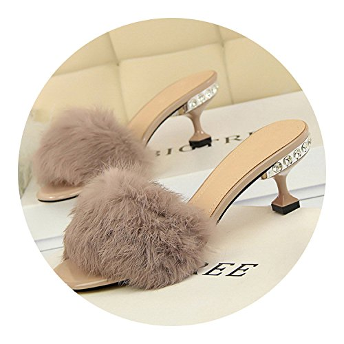 (Plus Size Crystal 6Cm High Heels Shales Slides Kitten Rabbit Fur Heels Slippers,Chocolate,8)