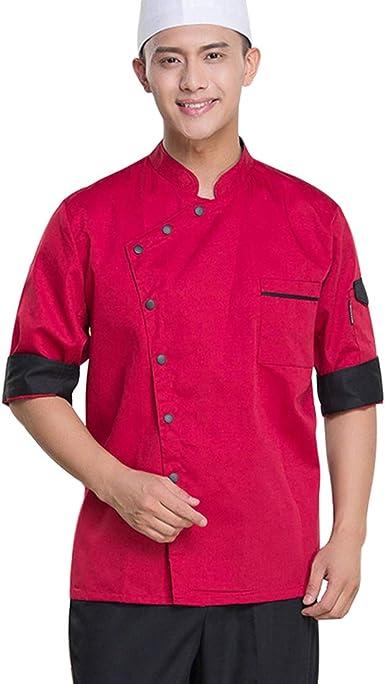 Pinji Chaqueta Chef Camisa de Cocinero Manga Larga de Verano 2XL Rojo: Amazon.es: Ropa y accesorios