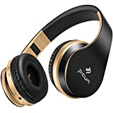 Wireless Headphones Bluetooth Headphone with Mic Hifi Stereo Bass Foldable Lightweight Headset for Computer Cell Phones TV Tablet Laptop, Volume Control TF Card Wired Mode, Picun - Black Gold