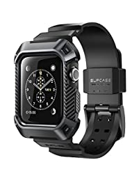 SUPCASE [Unicorn Beetle Pro] Case with Strap Bands for Apple Watch 3  2017 Edition [42mm, Compatible with Apple Watch 42mm 2015 2016 ] (Black)
