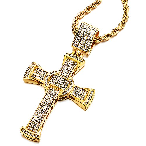74f9be3b05 Grande Oro Colgante de Cruz con Circonita, Collar de Hombre Mujer, Acero  Inoxidable,