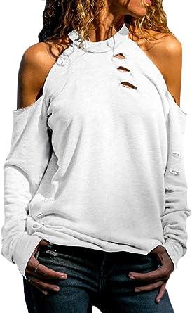ShallGood Blusa y Camisa Mujer Manga Larga Hombro sin Tirantes Cuello Redondo Camisa Colores sólidos Casual Tops Suéter Jersey: Amazon.es: Ropa y accesorios
