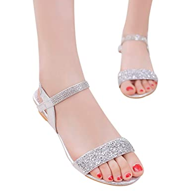 cd2dbbf88fa81 Casual Sandals for Women Size 10,Women's Fashion Casual Summer Elastic Band  Bling Med Heel