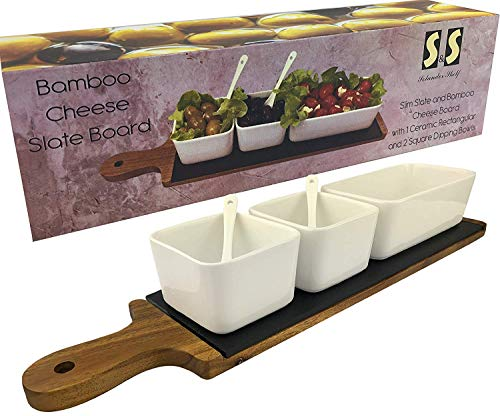 Solander Skelf Acacia Wood Cheese Slate Board SET | Long | One Ceramic Rectangular & 2-pieces Square Dipping Bowls with 2 Tasting Ceramic Spoons Modern Dips Set | Elegant Serving Tray