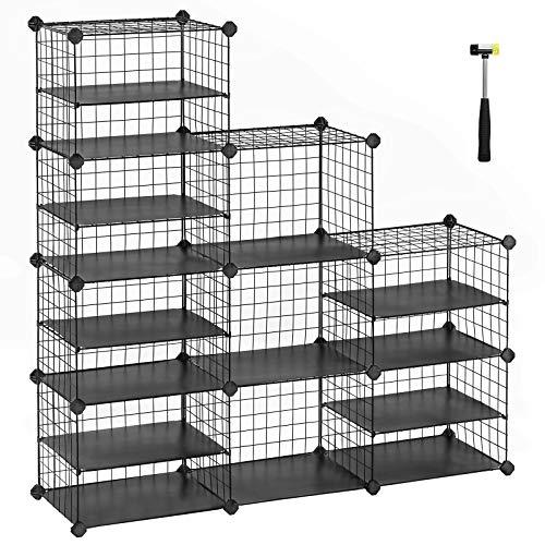SONGMICS Cube Storage Unit, Shoe Rack, Interlocking Metal Wire Organizer with Dividers, Modular Cabinet, DIY for Closet, Living Room, Kid's Room, 48.4 x 12.2 x 48.4 Inches, Black ULPI401H (15 Storage Unit Cube)