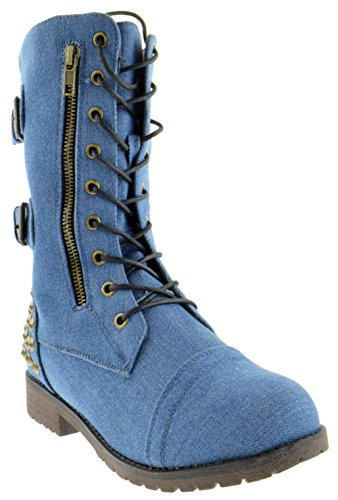 Harley 12 Womens Military Lace up Studded Combat Boot Denim
