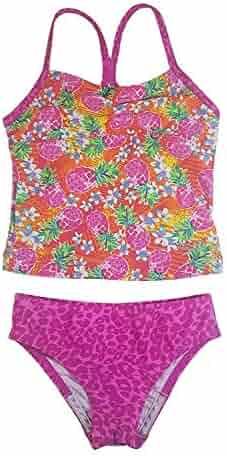 35ce52a10f Speedo Girl's Sporty Splice Tankini 2 Piece Swimsuit, Pink/Pineapple, Size 7