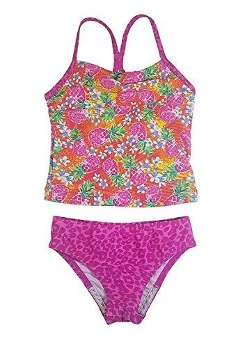 Speedo Girl's Sporty Splice Tankini 2 Piece Swimsuit, Pink/Pineapple, Size 7 ()