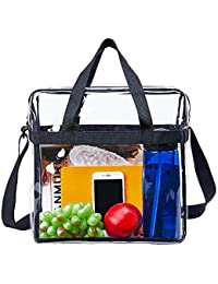 "Clear Tote Bag Stadium Approved,The Clear Bag with Adjustable Shoulder Strap and Zipper Closure is Perfect for Work,School,Sports Games and Concerts-12"" X 12"" X 6"""