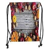 Drawstring Backpacks Bags,Modern,Natural Vegetables Walnut Wood Rustic Print Home or Cafe Kitchenware Art Apples,Grey Yellow Red Soft Satin,5 Liter Capacity,Adjustable String Closu