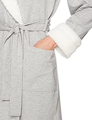 Arabella Women s French Terry and Shaggy Plush Short Wrap Robe ... a9d4a93ff